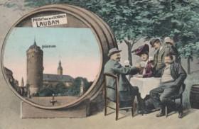 Pocztówka reklamująca lubańskie piwo